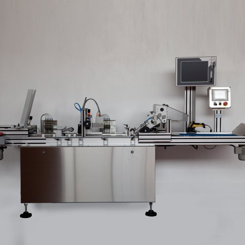 Offline serialization and labelling machine for flat carton and boxes