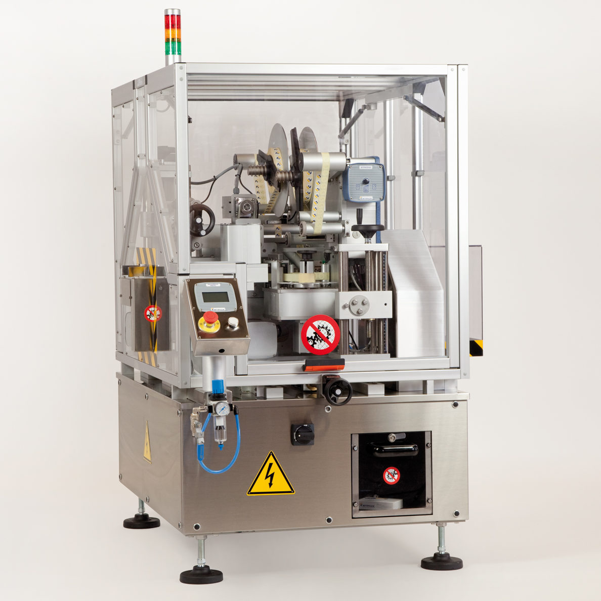 Tamper evident labelling machine for pharmaceutical boxes