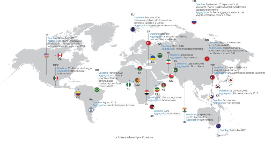 Mappa mondiale serializzazione ITA